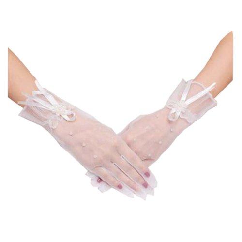 Girls / Ladies Lace Bridal Bride Short Gloves Wrist Wedding Party Costume Prom,D