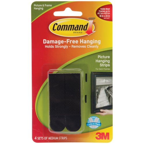 Command Medium Picture Hanging Strips-Black 4 Sets/Pkg