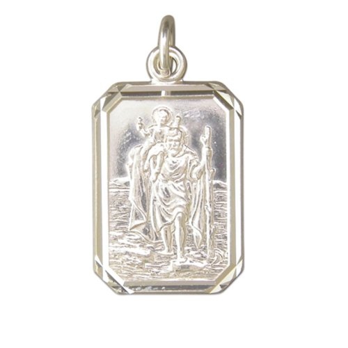 Childrens Sterling Silver Large Diamond Cut Oblong St Christopher Pendant On A Curb Necklace
