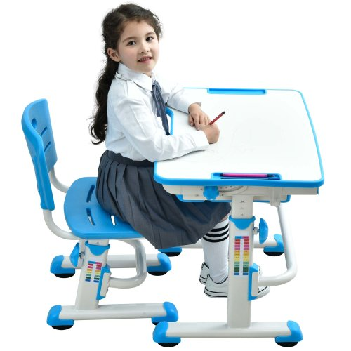 Height Adjustable Kids Desk Chair Ergonomic Children Table - Mini Blue