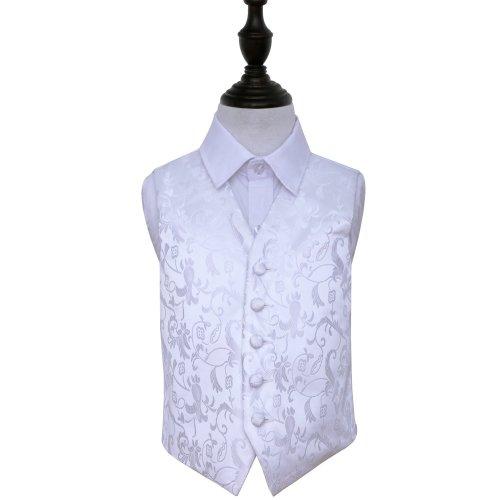 White Floral Wedding Waistcoat for Boys 22'