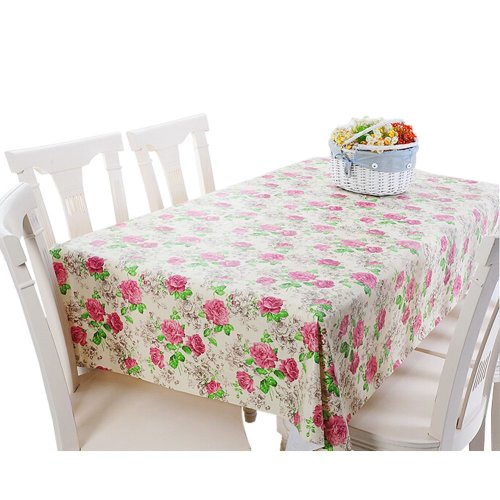 Modern PVC Waterproof Tablecloth Table Mat Rose Flowers (137*220cm)
