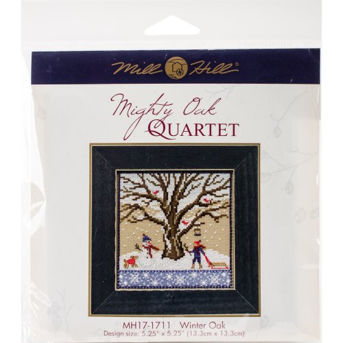 "Winter Oak Counted Cross Stitch Kit-5.25""X5.25"" 14 Count"