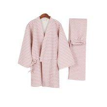 Fall&winter Cotton Thick Striped Pajamas Suit Pajamas Women 's Kimono Pajamas