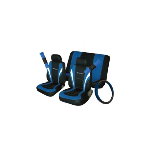Car Seat, Steering Wheel & Seatbelt Cover Sport - Set - Black/Blue