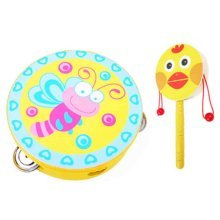 2PCS Kids Musical Instruments Wooden Tambourine Cute Hand Drum(Yellow)