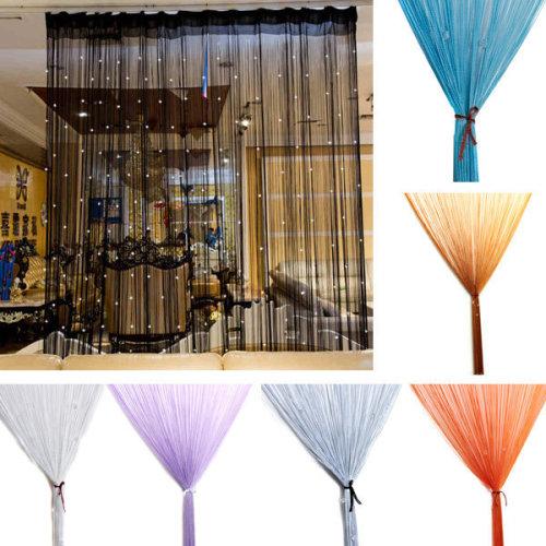 Glitter Crystal Balls Tassel String Line Door Window Curtain Room Divider Screen Decor