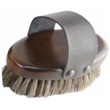 HySHINE Deluxe Horse Hair Wooden Body Brush - Small: Dark Brown