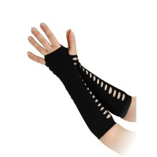 "10"" Black Ladder Style Gloves - 10 Fancy Dress Punk Side Holes Gothic Halloween -  gloves 10 black fancy dress ladder style punk side holes gothic"