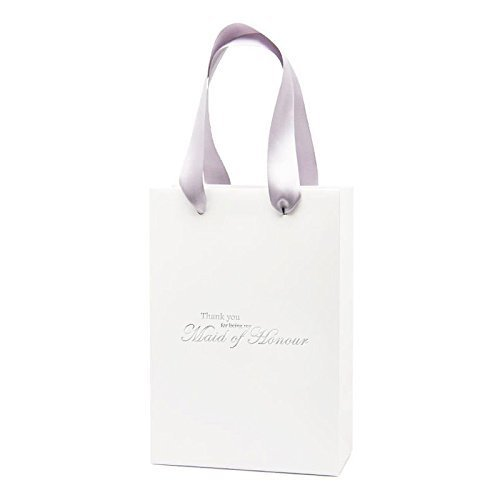 Thank You For Being My Maid of Honour Gift Bag Wedding Gift Bag (White\Silver)