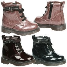 Alexis Girls Toddlers Flat Glitter Lace Up Ankle Boots
