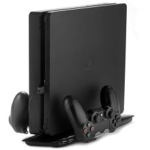[REYTID] PS4 Slim 4-in-1 Stand Vertical Dual Cooling Pad Dual Controller Charging Dock USB - Black