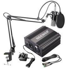 Neewer NW-700 Condenser Microphone Kit: Black Mic, 48V Phantom Power Supply