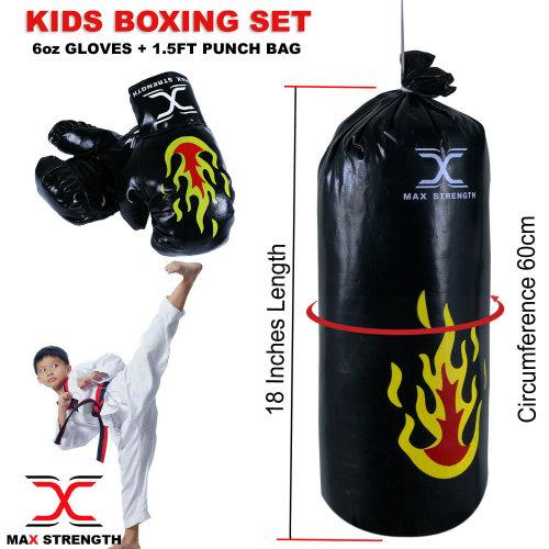 "Junior Boxing Punch Bag Set 18"" Kids Punching Home Training Gloves MMA"