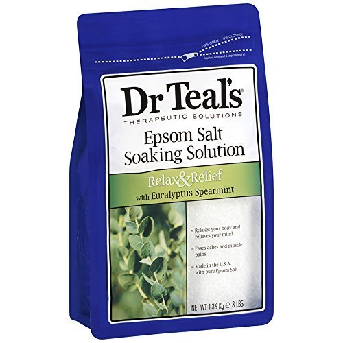 Dr Teals Epsom Salt Soaking Solution, Eucalyptus Spearmint, 48 Ounce (Pack of 4)