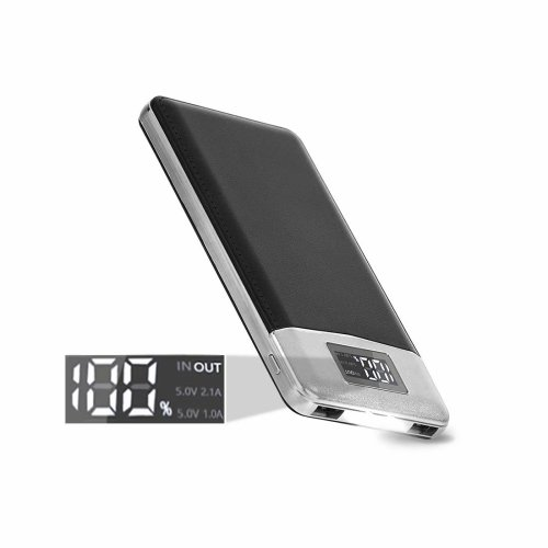 ARIO®16000mAh PU Leather Case PowerBank for all mobile phones (Black)