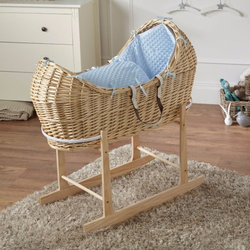 Blue Dimple Natural Wicker Moses Basket Pod And Natural Rocking Stand