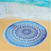 150x150cm Beautiful Printed Beach Yoga Towel Polyester Round Bed Sheet Tassel Shawl