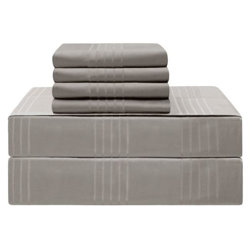 Jean Pierre YMS008227 Premium 420 Thread Count 100 Percent Cotton Sheet Set, Charcoal - California King - 6 Piece