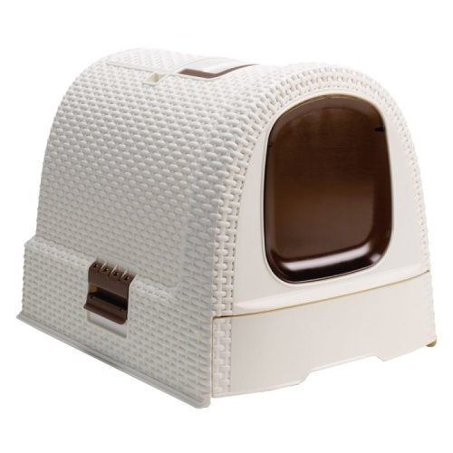 Cat Litter Tray Hooded Drawer Swing Door Storage