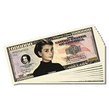Audrey Hepburn Million Dollar Bill - 10 Count with Bonus Clear Protector & Christopher Columbus Bill