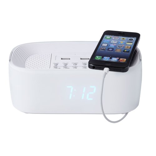 Groov-e Alarm Clock Radio with USB Charger & Bluetooth Speaker - White
