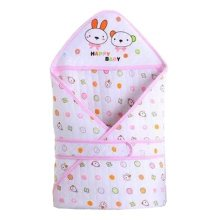Lovely Rabbit Baby Receiving Blankets Summer Hooded Swaddleme, Pink