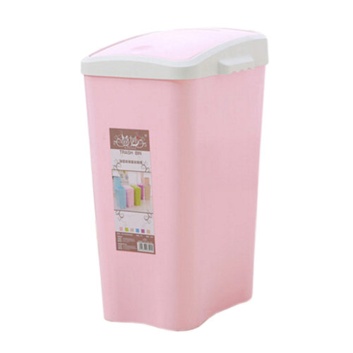 8L Creative Household Trash Can Flip Type Wastebasket Trash Storage Bucket Pink