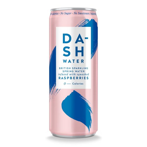 Dash Sugar Free Fruit Water - British Fizzy Water - No Artificial Sweeteners, Wonky Fruit and Vegetable Juice (Raspberry) 12-PACK