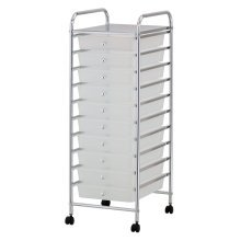 White 10 Drawer Make Up Mobile Home Office Beauty Salon Portable Storage Trolley