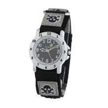 Cactus Quartz Skull Fabric Strap Black Dial Boys Watch CAC-30-M14