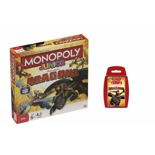 Dreamworks Dragons Monopoly Junior and Top Trumps Card Game Bundle