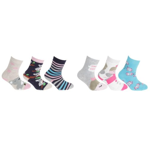 FLOSO Childrens Girls Cotton Rich Gripper Socks (3 Pairs)