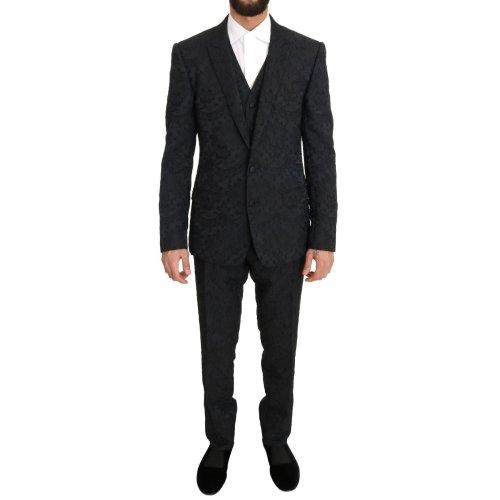Dolce & Gabbana Black Floral Brocade Slim Fit 3 Piece Suit