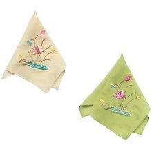 Two Pieces Of Elegant And Retro Lotus Flower Embroidered Handkerchiefs-h