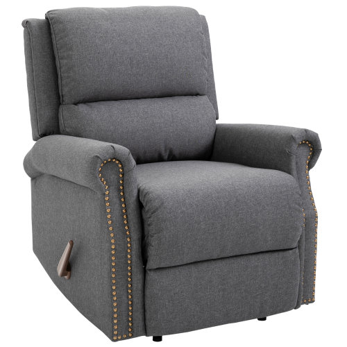 HOMCOM Linen Manual Reclining Armchair Padded Upholstery w/Adjustable Back Grey
