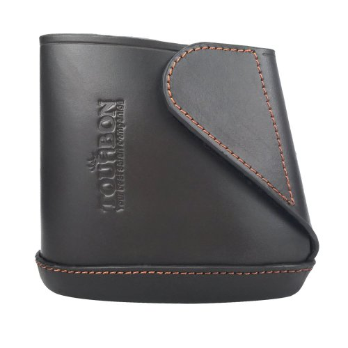 TOURBON Genuine Leather Shotgun Stock Extension Slip on Recoil Pad Sleeve - Dark Brown (Small)