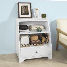 SoBuy® FSB13-W, White Storage Unit Bookcase Sideboard Cabinet 2 Shelves 1 Drawer