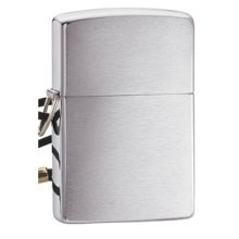Brushed Chrome Lossproof With Loop And Lanyard Zippo Lighter - Br New -  zippo lossproof loop lanyard lighter brushed chrome brand new