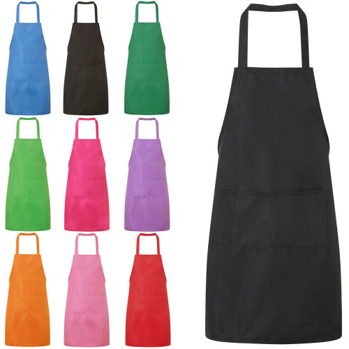 Plain Unisex Cooking Apron With Twin Pockets