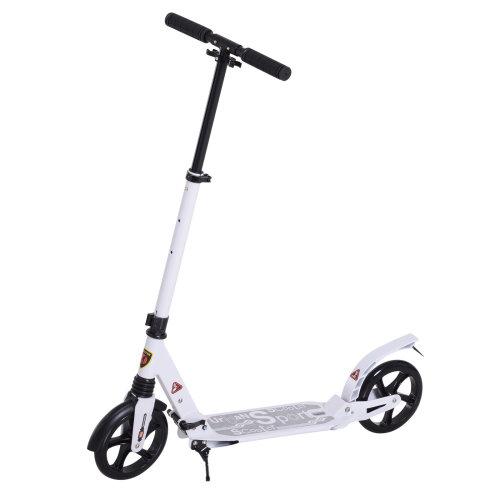 HOMCOM Folding Kick Scooter 2 Big Wheels Ride On Adjustable  Adult Teens For 14+ White