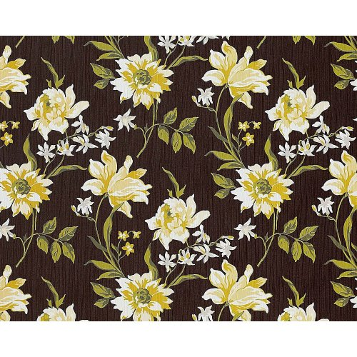 EDEM 900-16 non-woven wallpaper flowers fabric look brown yellow-green 10.65 sqm
