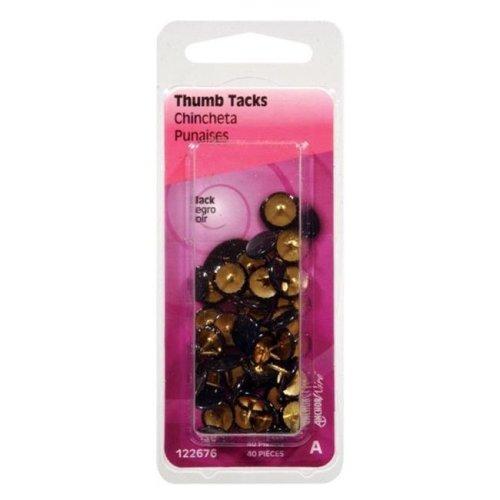 Hillman 122676 N Black Thumb Tacks- pack of 6