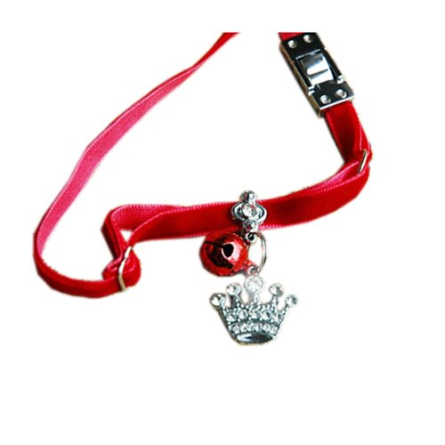 Soft Material with Bell & Crown Pendant Collar for Cat, Dog(Fit 16~32cm Neck)