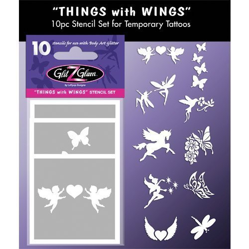 Temporary Tattoos Stencil Set Things with Wings Tattoos for Kids, Teenagers & Adults