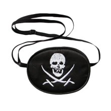 Silk Soft and Comfortable Kids Eye Patch Pirate Pattern - Black