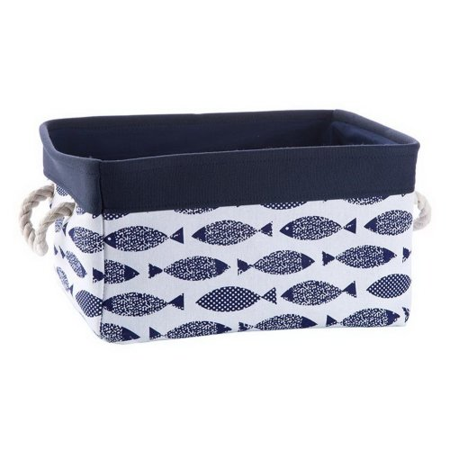 Fabric Portable Storage Basket Kitchen Snacks Toys Debris Storage Box, Blue Fish