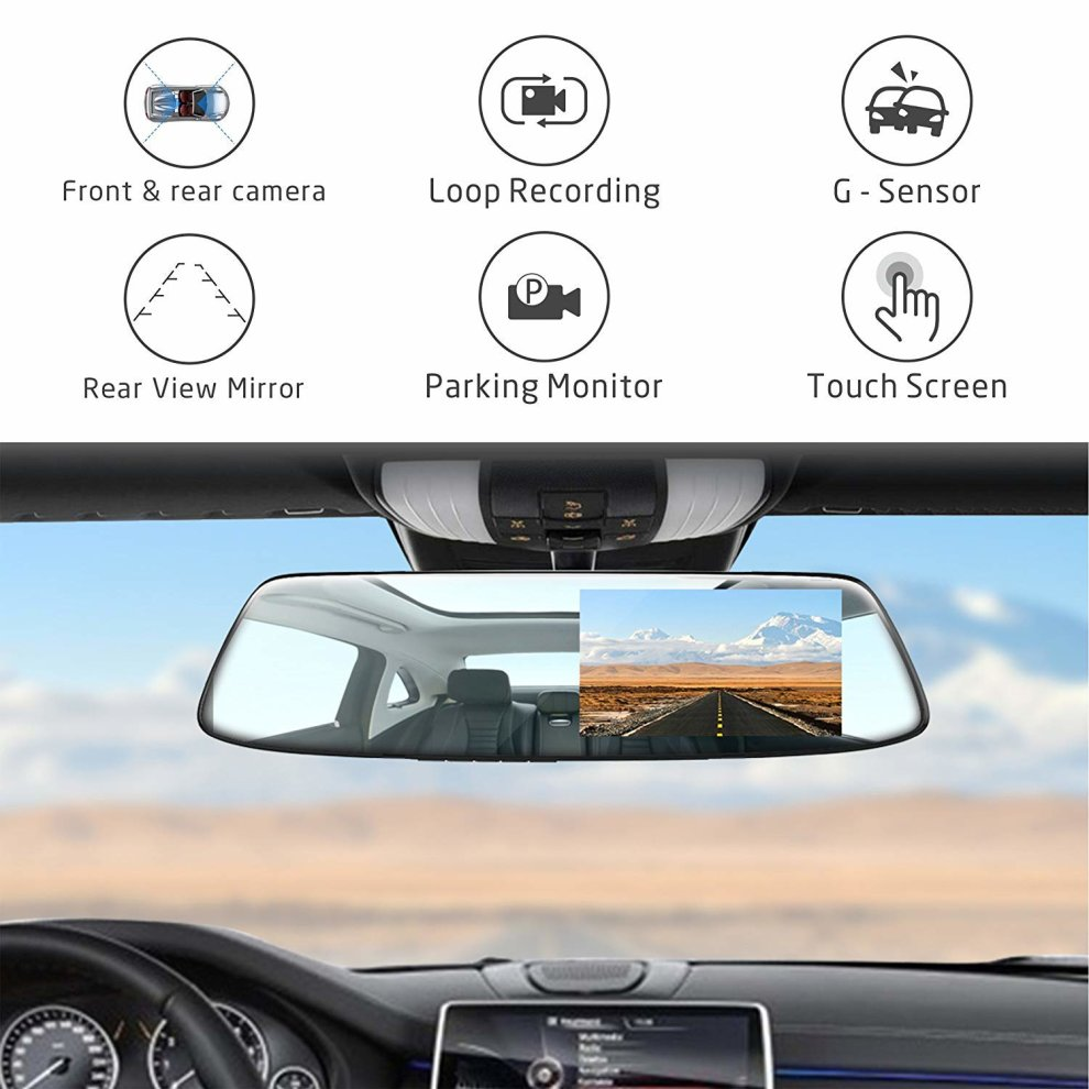... Mirror Dash Cam 4.3 Inch Touch Screen, TOGUARD 1080P Full HD 170° Wide Angle ...