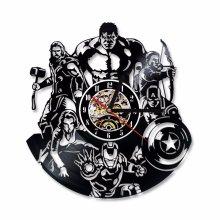 The Avengers Shape Vinyl Record Marvel Comics LED Wall Clock