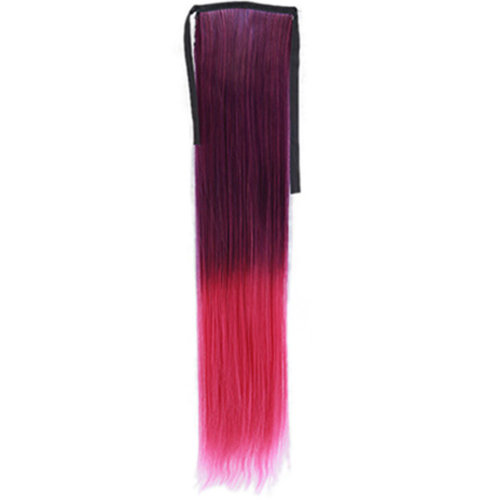 Wig Cauda Equina/Long Straight Braided Ponytail/Gradient Belt Type False(Red)